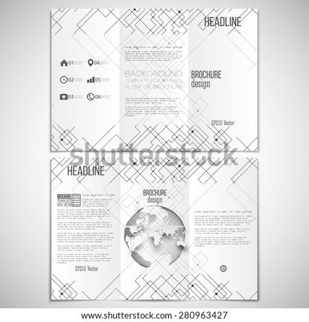 Vector set of tri-fold brochure design template on both sides with world globe element.  Connected lines and dots on white background. Modern geometric background. Simple monochrome vector texture. - stock vector
