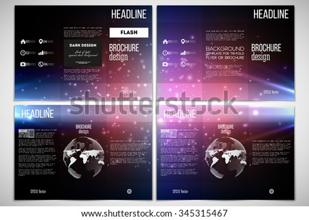 Vector set of tri-fold brochure design template on both sides with world globe element. Flashes against dark background. - stock vector