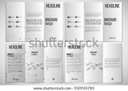 Vector set of tri-fold brochure design template on both sides with world globe element. Molecular structure design, scientific vector background. - stock vector