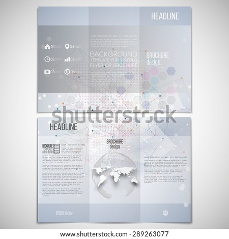 Vector set of tri-fold brochure design template on both sides with world globe element. Molecule structure, blue background for communication, science vector illustration. - stock vector