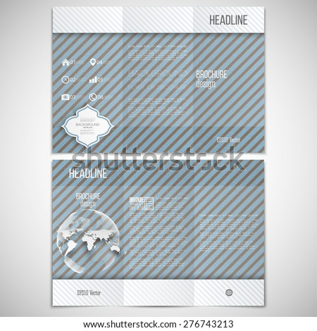 Vector set of tri-fold brochure design template on both sides with world globe element. Vintage style lines blue background. Repeating modern geometric decoration. Abstract monochrome vector texture. - stock vector