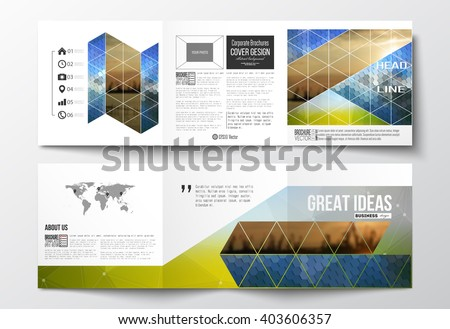 Vector set of tri-fold brochures, square design templates with element of world map. Abstract colorful polygonal background with blurred image, modern stylish triangular and hexagonal vector texture.  - stock vector