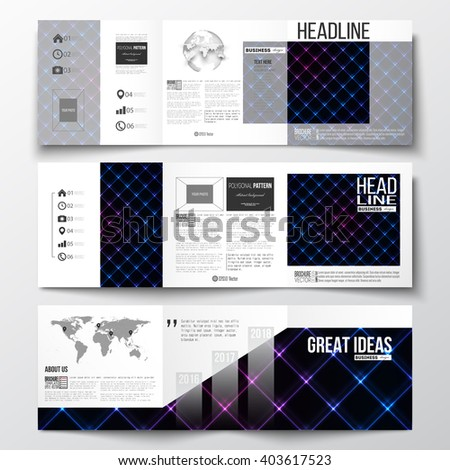 Vector set of tri-fold brochures, square design templates with element of world map and globe. Abstract polygonal background, modern stylish sguare vector texture. - stock vector