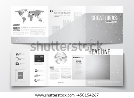 Vector set of tri-fold brochures, square design templates with element of world map and globe. Molecular construction, connected lines and dots, scientific or digital design pattern on gray background - stock vector