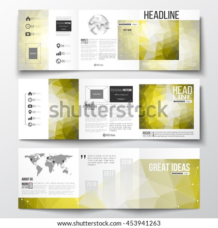 Vector set of tri-fold brochures, square design templates with element of world map and globe. Molecular construction, connected lines and dots, scientific pattern on yellow polygonal background. - stock vector