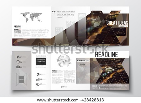 Vector set of tri-fold brochures, square design templates with element of world map and globe. Dark polygonal background, blurred image, night city landscape, Paris cityscape, triangular texture - stock vector
