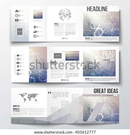Vector set of tri-fold brochures, square design templates with element of world map and globe. DNA molecule structure on a blue background. Science vector background. - stock vector
