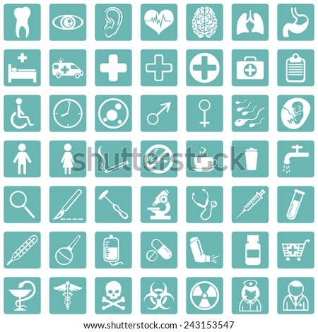 Vector Set of Turquoise Square Medical Icons - stock vector