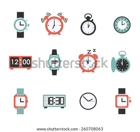 Vector set of twelve watch icons in flat style isolated. Time or countdown  illustration - stock vector