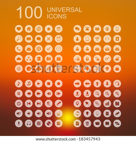 Vector Set of 100 Universal Icons for Web and User Interface Design - stock vector