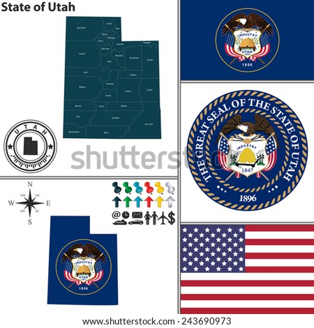 Vector set of Utah state with flag and icons on white background - stock vector