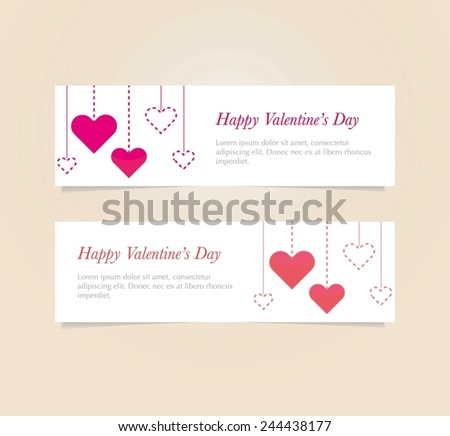 Vector set of  Valentine`s day banners with heart pattern background eps 10 - stock vector