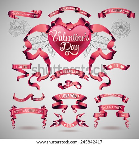 Vector set of valentines day banners and ribbons - stock vector