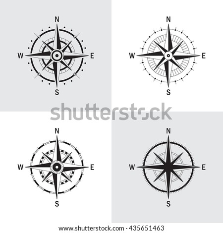 Vector set of variations of the geo mark Wind Rose. Vector compass. Rose Wind in lineal style. Perfect image for Columbus Day. - stock vector
