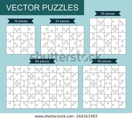 Vector set of various blank puzzles. - stock vector
