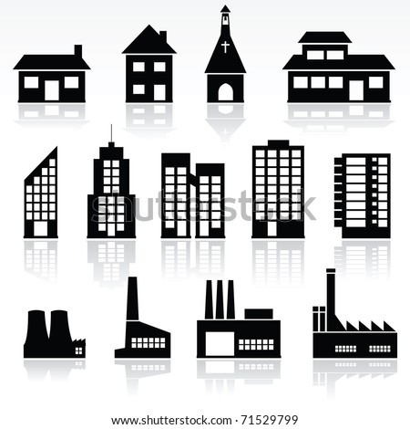 vector set of various buildings - stock vector