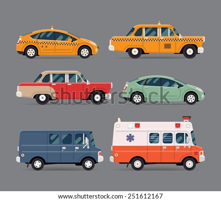 Vector set of various city urban traffic vehicles icons featuring yellow modern and retro taxi cabs, old fashioned vintage car, hybrid car, cargo delivery van, ambulance. Side view, isolated - stock vector