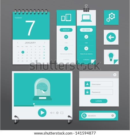 Vector set of various elements used for User Interface projects - stock vector