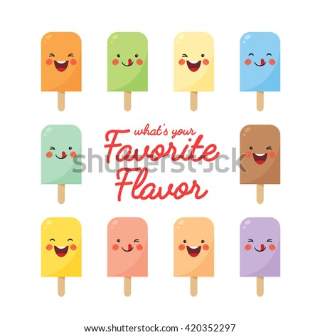 Vector set of various flavor popsicles. Cute smiling cartoon popsicles isolated on white background. - stock vector
