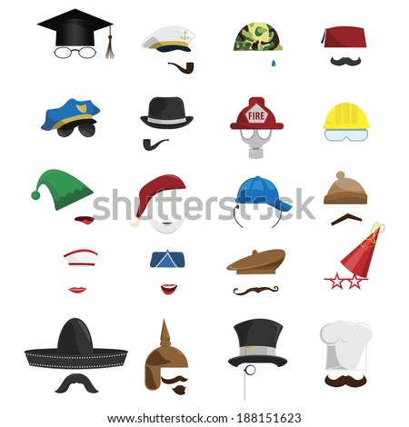vector set of various invisible men with hats  - stock vector