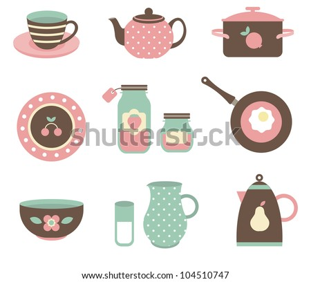 Vector set of various kitchen tools - stock vector