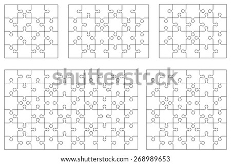 Vector set of various puzzles. 16, 20, 24, 36 and 60 pieces. - stock vector