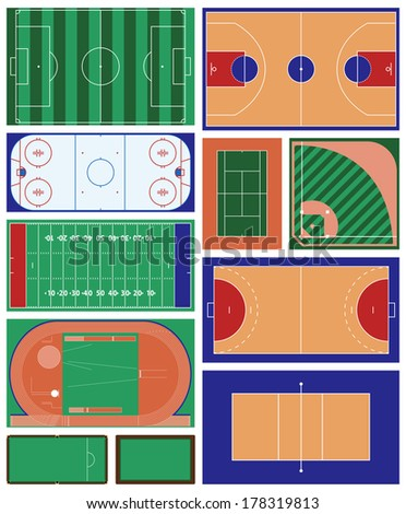 vector set of various sport fields - stock vector