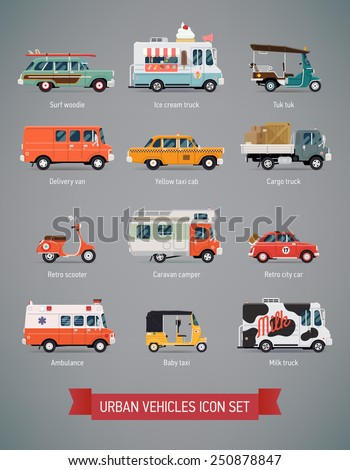 Vector set of various urban and city cars and vehicles featuring ice cream truck, ambulance, tuk tuk, baby taxi, yellow cab, flatbed truck, cargo van, surf car, picnic retro car, milk truck and more - stock vector