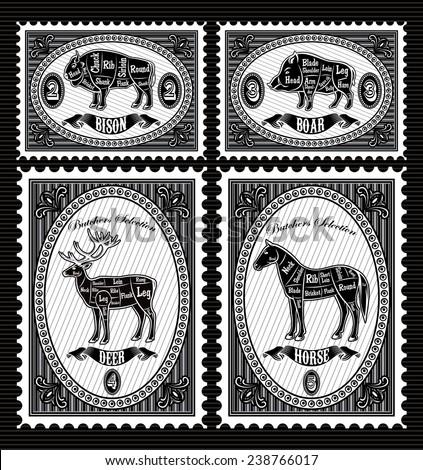 vector set of vector postage stamps with boar, bison, deer, horse - stock vector
