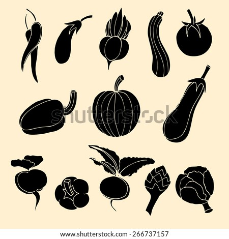 Vector Set of Vegetables Icons. - stock vector