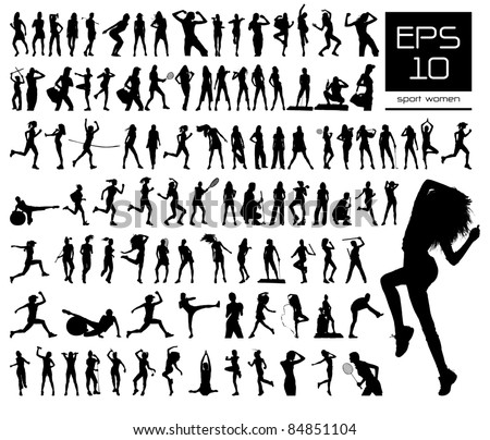 Vector set of 100 very detailed sport women silhouettes - stock vector