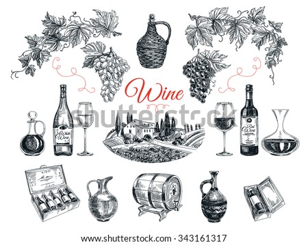 Vector set of vine products. Vector illustration in sketch style. Hand drawn design elements.  - stock vector