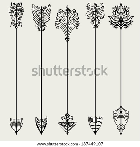 Vector set of vintage arrows, hand drawn in graphic style - stock vector