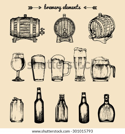 Vector set of vintage brewery elements. Retro collection with beer elements. Brewery signs. Beer icons set. - stock vector