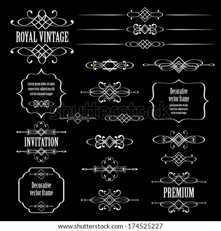 Vector set of vintage calligraphic design elements and page decor isolated on black background. - stock vector