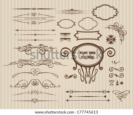 Vector set of vintage calligraphic elements and page decoration - stock vector