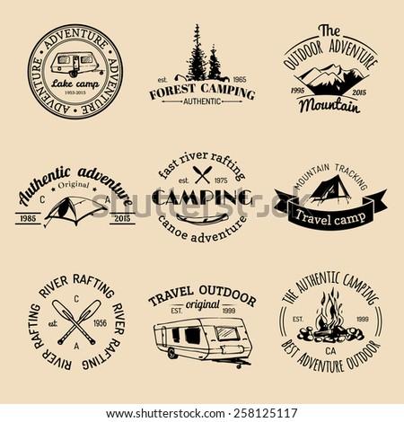 Vector set of vintage camping logo. Retro logotypes collection of outdoor adventures - stock vector