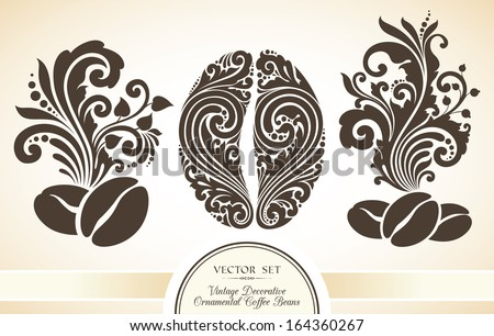 Vector set of vintage decorative ornamental coffee beans - stock vector