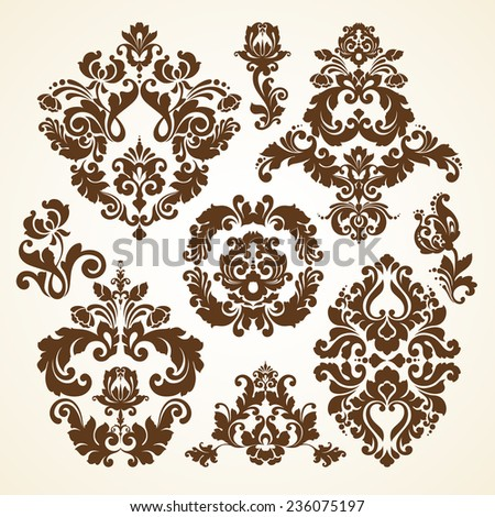 Vector set of vintage decorative ornamental damask calligraphic design elements for invitation, congratulation and greeting card - stock vector