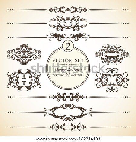 Vector set of vintage decorative ornamental elements for invitation, congratulation and greeting card  - stock vector