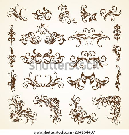 Vector set of vintage decorative ornamental page decoration calligraphic design elements for invitation, congratulation and greeting card - stock vector