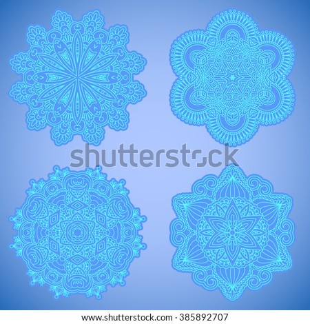 Vector set of vintage floral decorative elements for design, print, embroidery. - stock vector