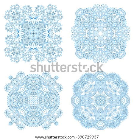 Vector set of vintage floral decorative round elements for design, print, embroidery. - stock vector