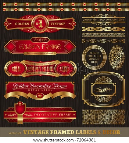 Vector set of vintage framed golden labels, borders, patterns, ornament & other decor on wood texture - stock vector