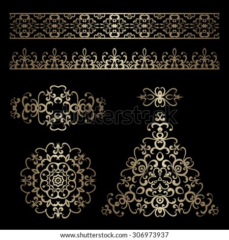 Vector set of vintage gold ornamental borders and swirly decorative design elements on black - stock vector