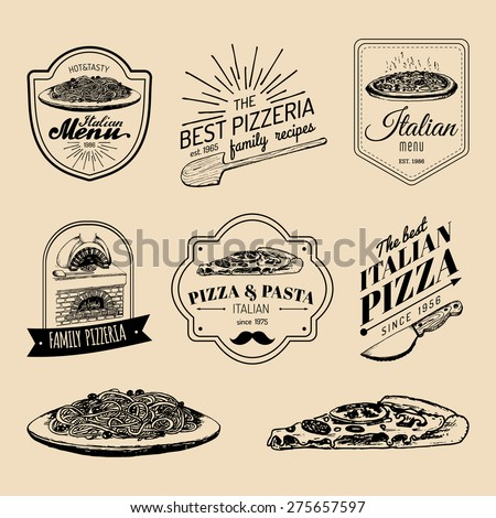 Vector set of vintage hipster italian food logo. Modern pizzeria and pasta logotypes collection - stock vector