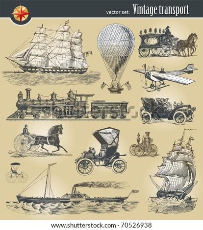 Vector set of vintage historical transport - stock vector