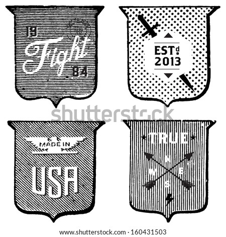 Vector set of vintage labels and shields. All pieces are separated. Easy to edit. - stock vector