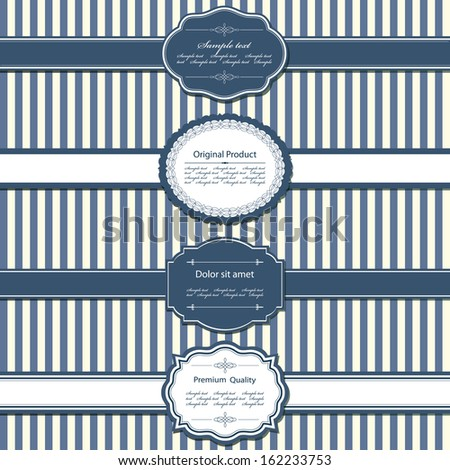 Vector set of vintage labels on stripped seamless background. Frames, ribbons and sample texts grouped separately for easy use. - stock vector