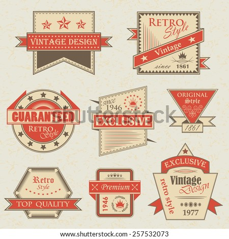 Vector set of vintage labels. Retro labels. Vintage labels collection. Vintage styled signs       - stock vector
